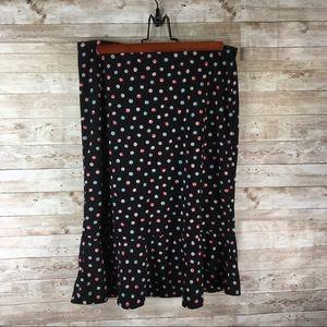 New York and Company Polka Dot Black Skirt